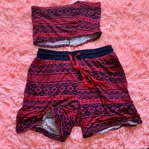 Matching two piece tube top and shorts